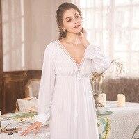 Free Shipping 2018 New Princess Women's White Long Pyjamas Lace Nightgown Summer Sleepwear Ladies pijamas femininos