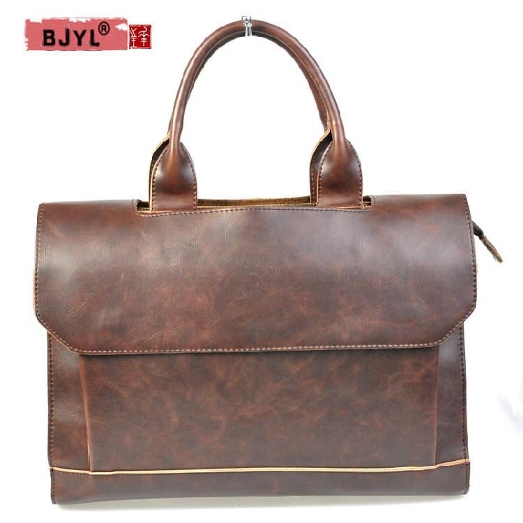 BJYL Genuine Leather Men Handbags Crazy Horse Leather 14