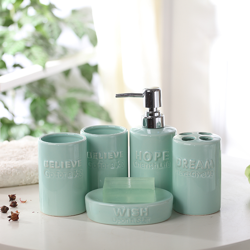 China Ceramic 5Pcs Bathroom Accessories Bath Sets Lotion Dispenser Bath  Ceramics Cup Toothbrush Holder(China