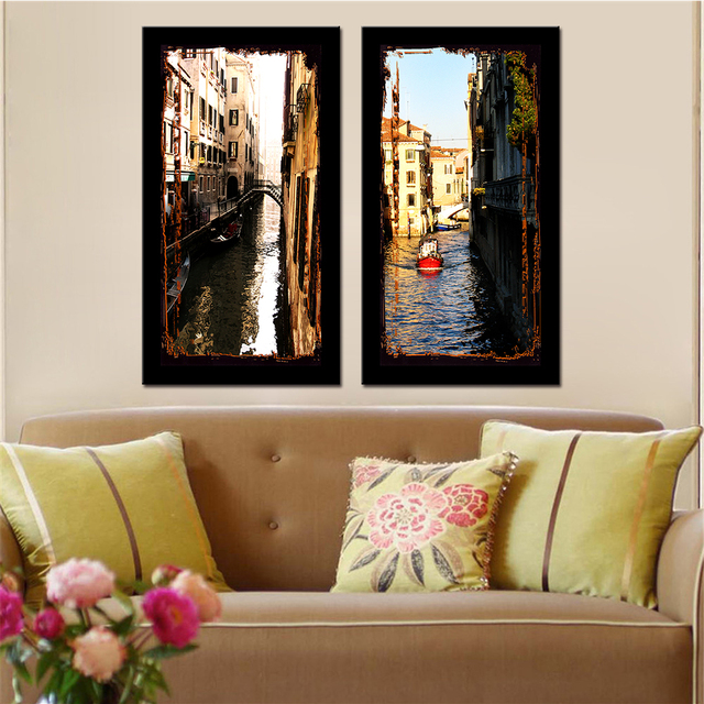 No Frame 2 Panels Modular Paintings Drop Shipping Classic Building Home  Decor Modern Canvas Wall Art
