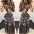 Julissa Mo Women Summer Dress Halterneck Cross Bandage Dresses Lightning Print High Waist Vestidos Sexy Split Club Party Dress