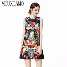 MIUXIMAO 2019 Newest Spring & Summer Fashion A-Line O-Neck Virgin Mary Print Diamonds Elegant Above Knee Dress Women