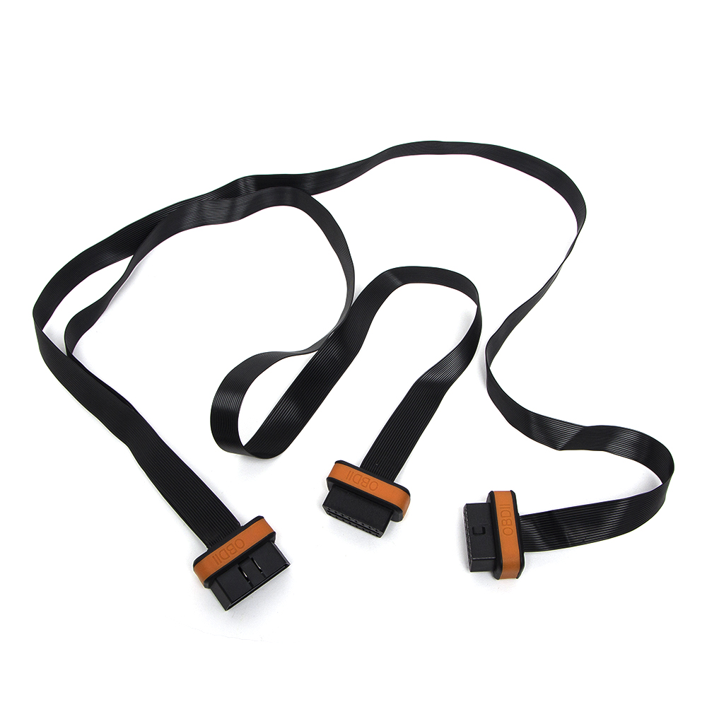 OBD 2 Connector Cable 1 To 2 With 2 Flat Noodles Line Extension Cord For Diagnostic Tool Excellent Driving Adapter