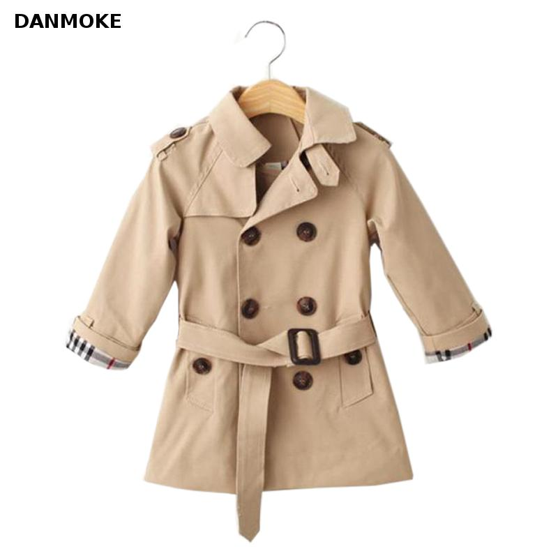 Danmoke Girls Trench Coats Double Breasted Jackets For Girls Clothing Tops Kids Windbreaker Spring Autumn Outerwear for Boys girls trench coats double breasted long jackets for girls clothing children outerwear spring autumn kids windbreakers 5 7 12 15