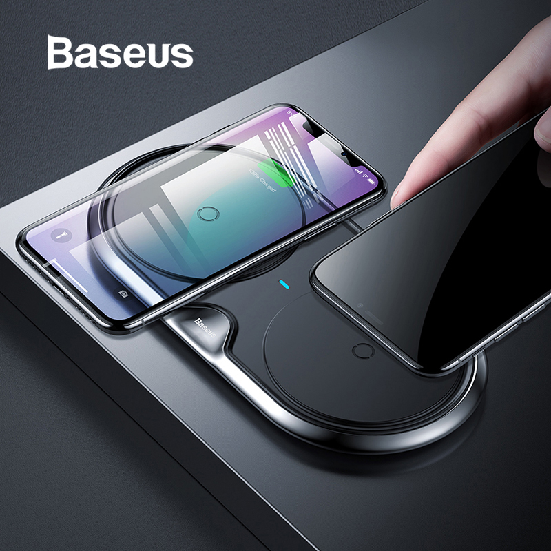 Baseus Metal Dual Wireless Charger For iPhone Xs  Xs Max XR Desktop Fast Wireless Charging Charger Pad for Samsung Note9 S9     Baseus Metal Dual Wireless Charger For iPhone Xs  Xs Max XR Desktop Fast Wireless Charging Charger Pad for Samsung Note9 S9