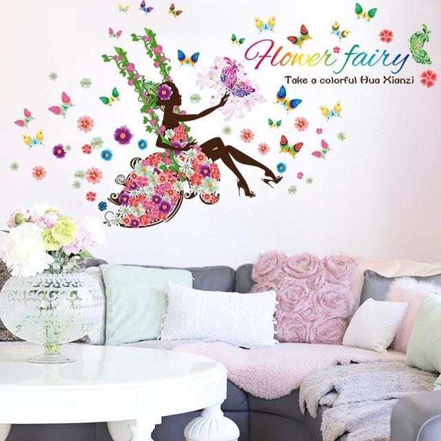 Diy wall art decal decoration fashion fairy flower girl wall sticker butterfly stickers 9004 home