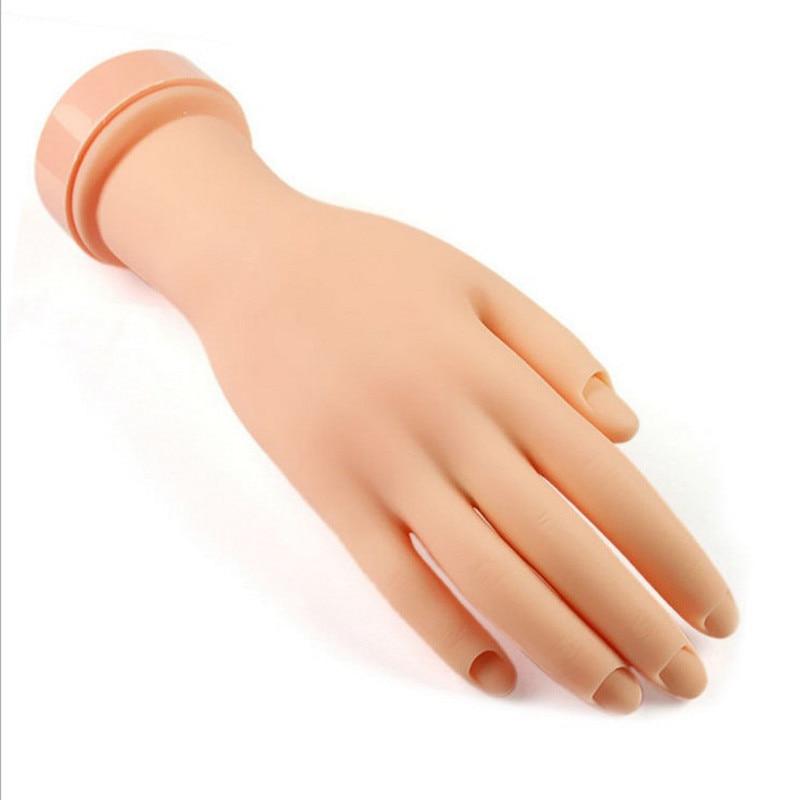 Soft Rubber Practice Nail Art Trainer Movable Hand Acrylic Gel False Model Uk 2017