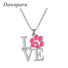 Dawapara Silver Plated Love Dog Pendant Jewelry Pink Footprint Charms Necklaces Adjustable Link Chain for Men and Women(China)