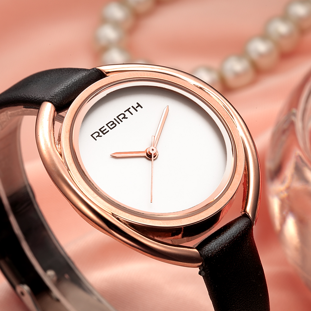 Fashion REBIRTH Brand Women Gift Clocks Luxury Quartz Leather Strap Girl Clock Female Relogio Watch Casual Ladies Wristwatches