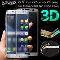 Lewei 3d curvada de la cubierta a todo color de pantalla protector de vidrio templado para samsung galaxy s7 s6 edge edge 4g lte s7 s6 edge + plus