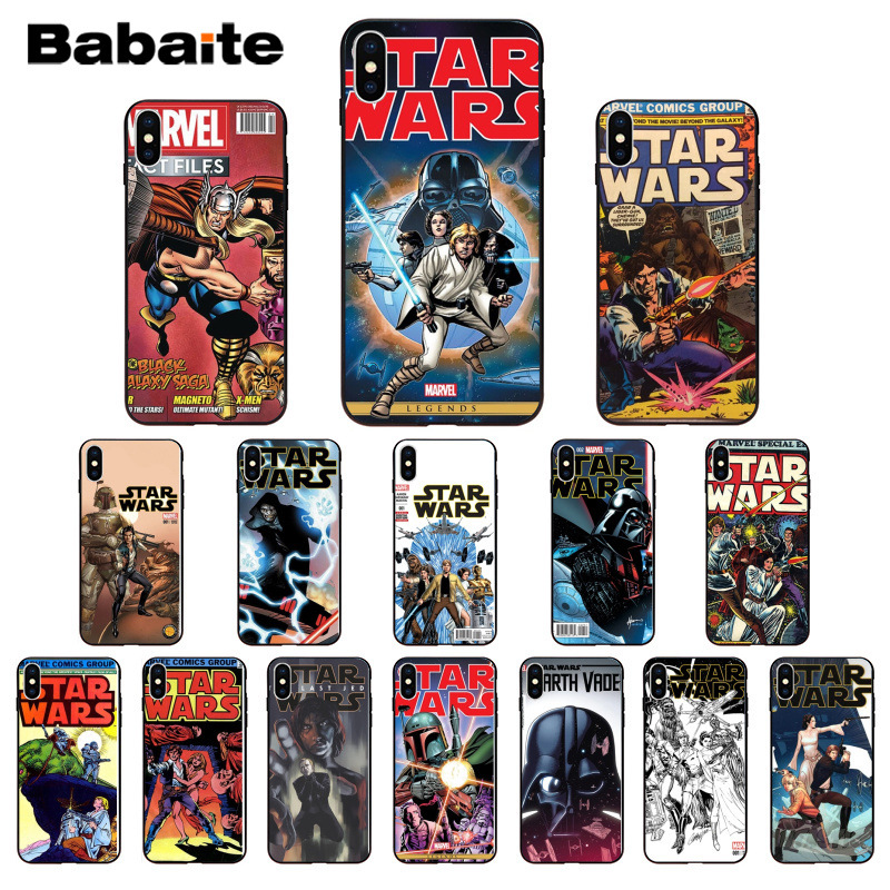 Babaite star wars marvel comics Smart Cover Black Soft Shell Phone Case for iPhone 5 5Sx 6 7 7plus 8 8Plus X XS MAX XR cover image