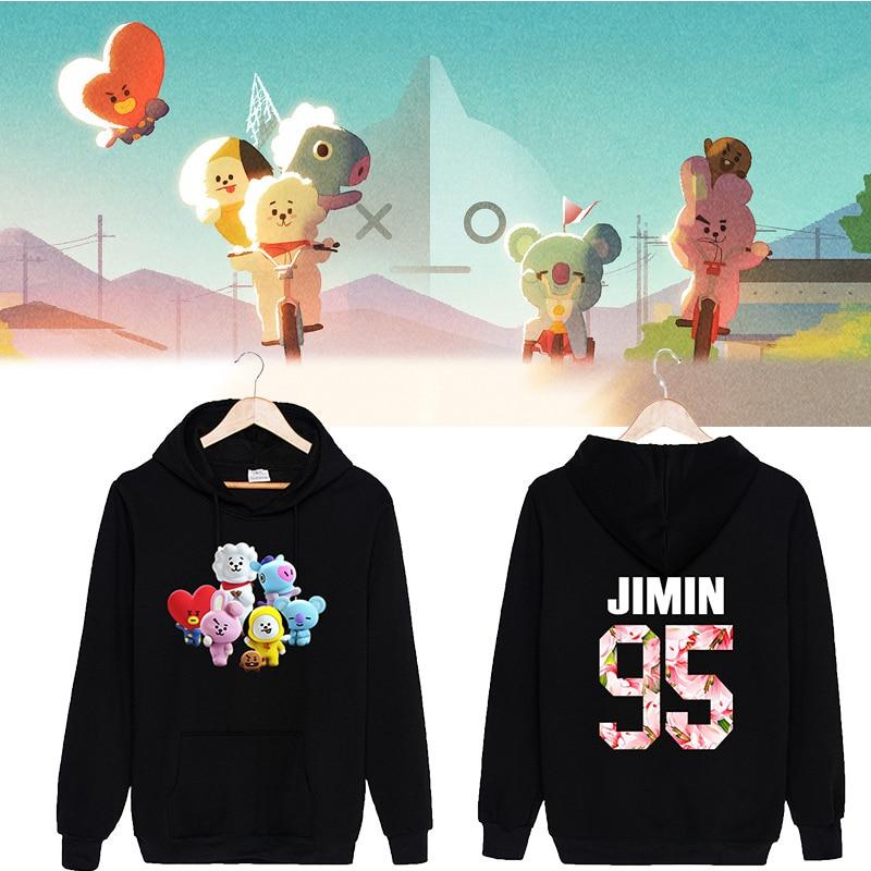 2018 BTS Kpop Bangtan Boys Oversized Hoodies Sweatshirts Women Cotton Tracksuit Korean Bts Album Love Yourself Bt21 Pullovers