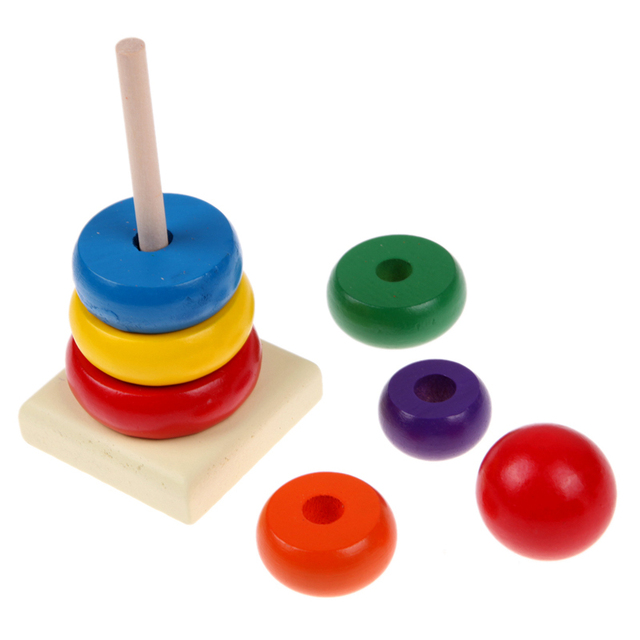 Colorful Wooden Stacking Ring Tower Kid's Toy