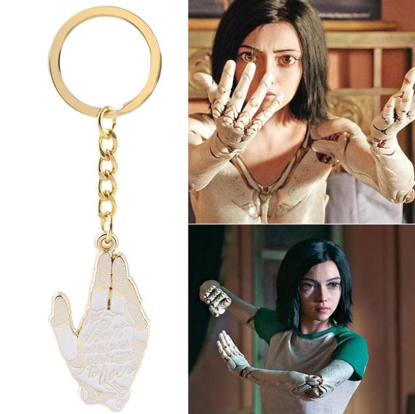 Alita Battle Angel Golden Hand Key Chains Cosplay Acrylic Keychain Pendant Keyring