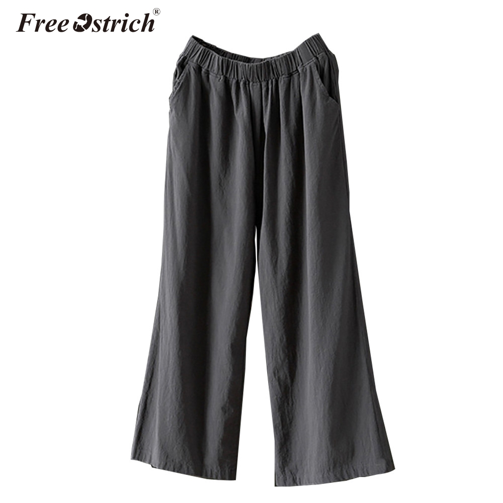 Free Ostrich Women New Summer   Wide     Leg     Pants   Casual Loose High Elastic Waist   Pants   Loose Solid Elasticated Trousers N30