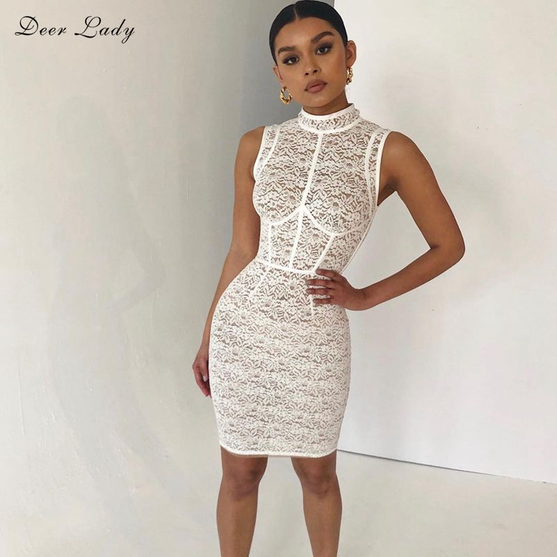 Deer Lady Summer Bodycon Dress 2018 Women White Lace Dress Sleeveless Sexy  See Though Dress Club 448720a79544
