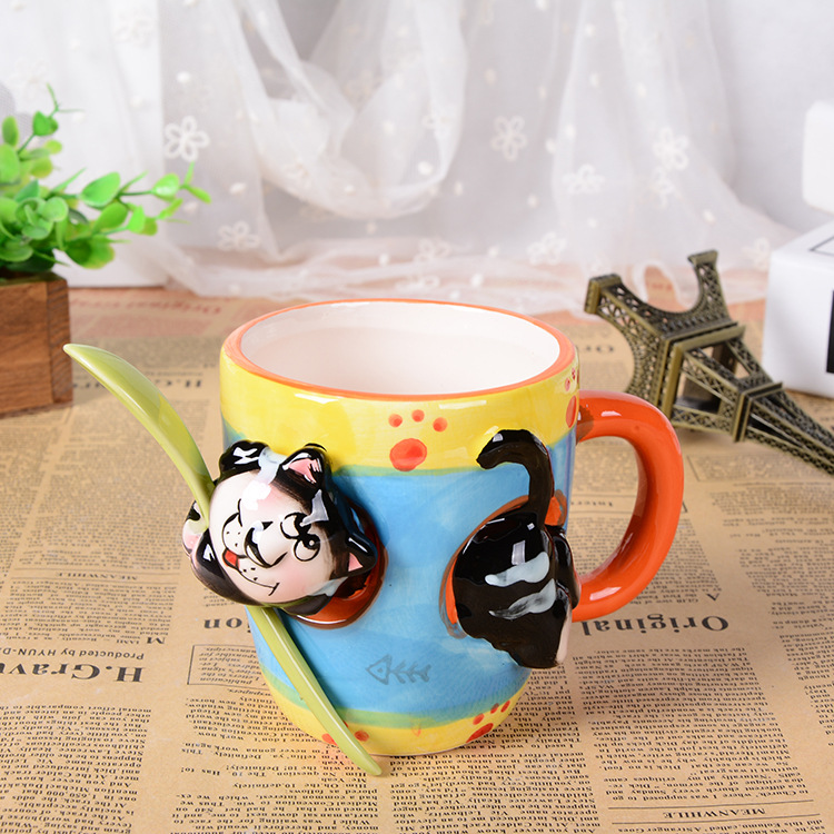 3D stereo ceramic hand painted cartoon animal mug with spoon office water cup children drinkware font