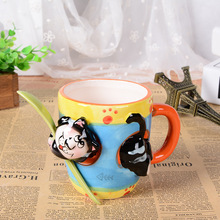 3D stereo ceramic hand painted cartoon animal mug with spoon office water cup children drinkware Christmas gift