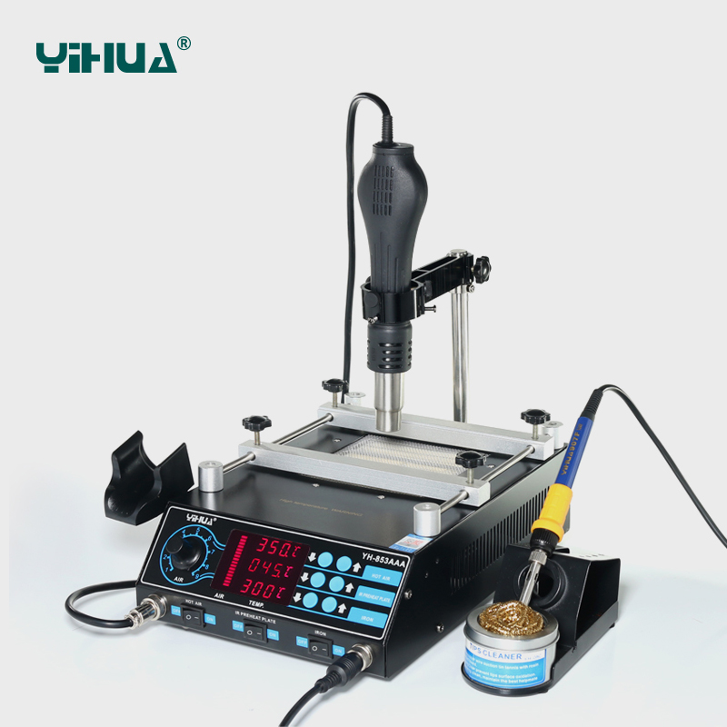YIHUA 853AAA 3 Functions in 1 Bga Rework Station 650W SMD Hot Air Gun+ 60W Soldering Irons +500W Preheating Station