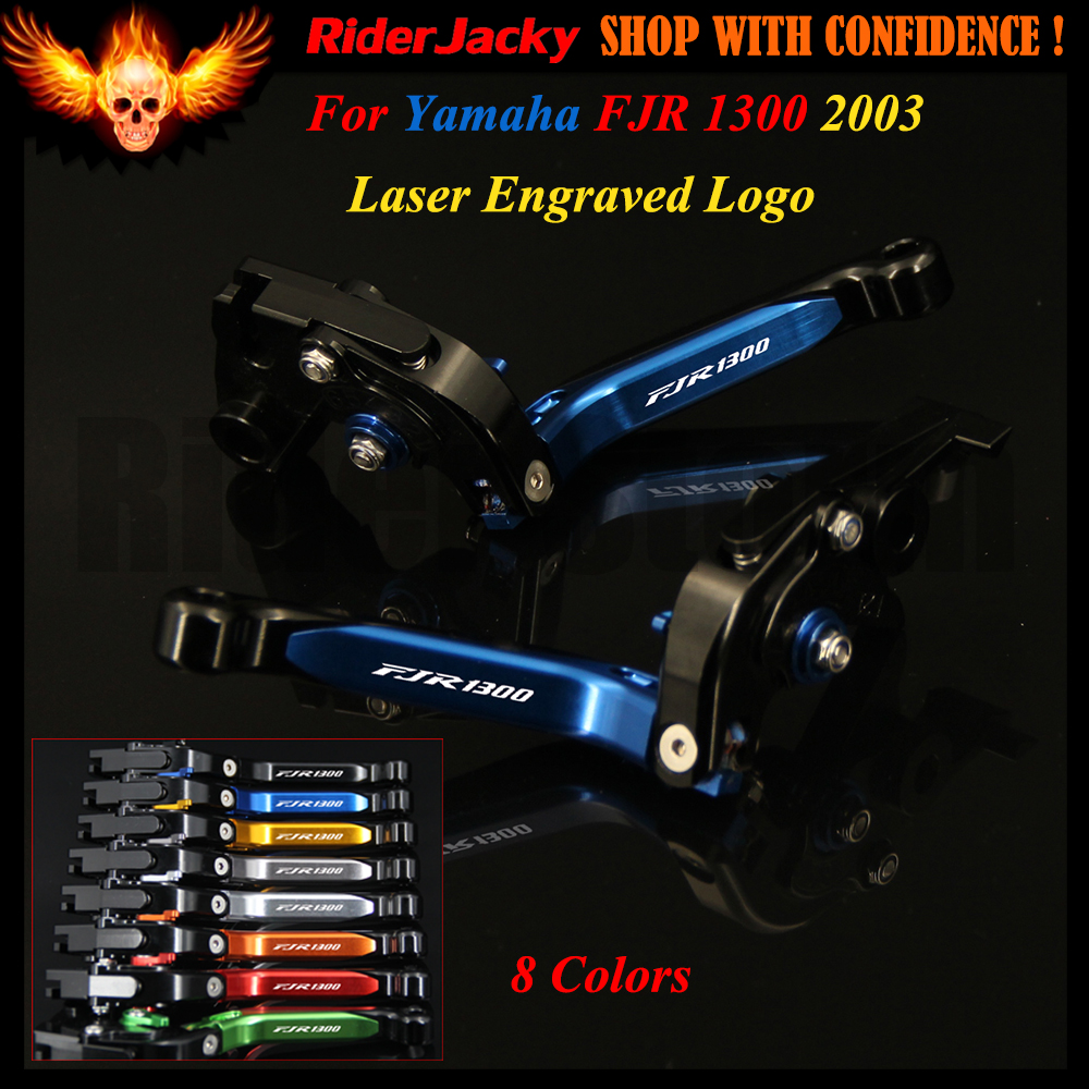 (8 Colors) Logo Blue Mix Black For Yamaha FJR1300 FJR 1300 2003 CNC Adjustable Folding Extendable Motorcycle Brake Clutch Levers bj ls 001 f14 c777 bl motorcycle cnc adjustable folding extendable brake clutch levers set for yamaha fjr 1300