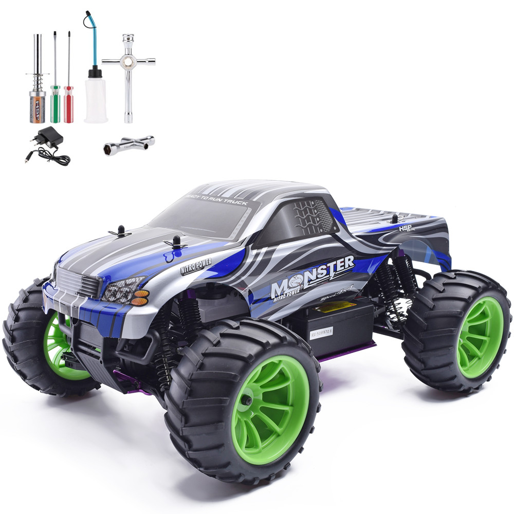 HSP 1/10 Scale Rc Car Nitro Gas Power 4wd Off Road Truck 94108 High Speed Hobby Remote Control Car 02023 clutch bell double gears 19t 24t for rc hsp 1 10th 4wd on road off road car truck silver