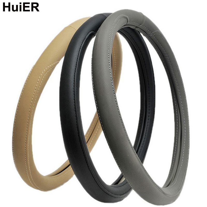 HuiER Car Steering Wheel Cover High Quality Soft PU Leather Anti-Slip For 38CM Auto Car Steering-Wheel Protector Free Shipping reflective movement diamond steering wheel cover 3 colors anti slip for 38cm car styling steering wheel car covers free shipping