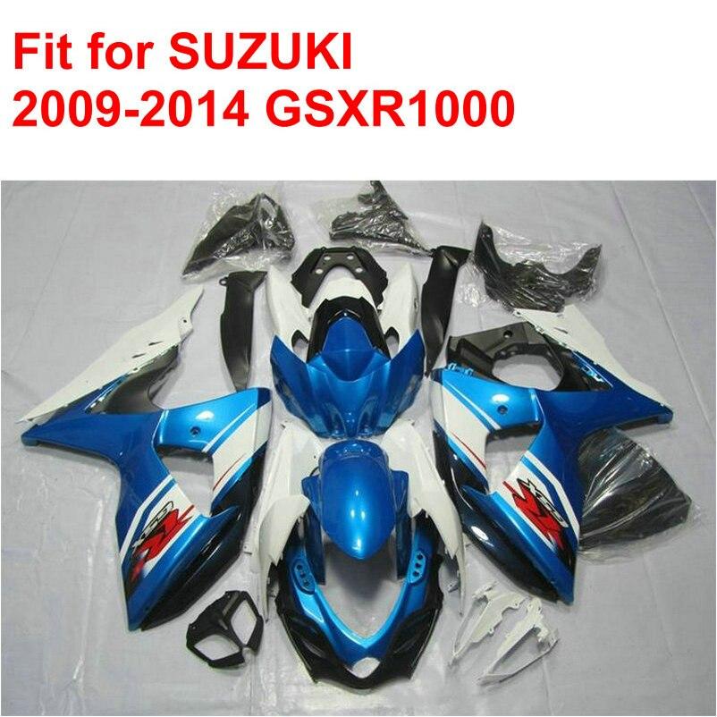 Fit pour SUZUKI injection moule GSXR1000 2009 2010 2011-2014 carénage kit gsxr 1000 09-14 bleu blanc noir ABS carénages ensemble AC42
