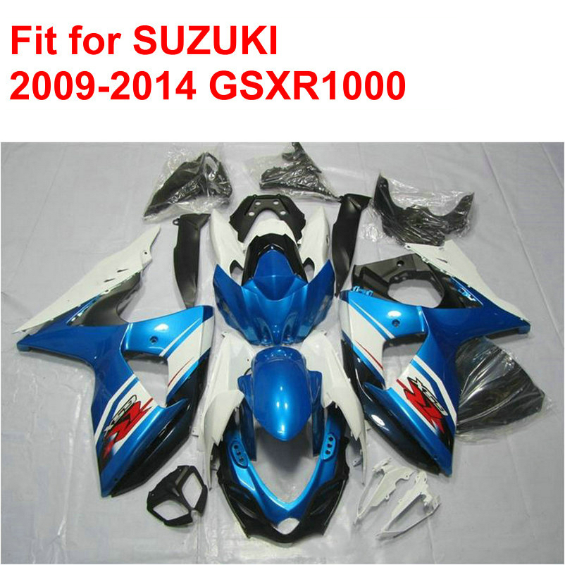 Misura per SUZUKI stampi ad iniezione GSXR1000 2009 2010 2011-2014 carena kit gsxr 1000 09-14 blu bianco nero ABS carenature set AC42