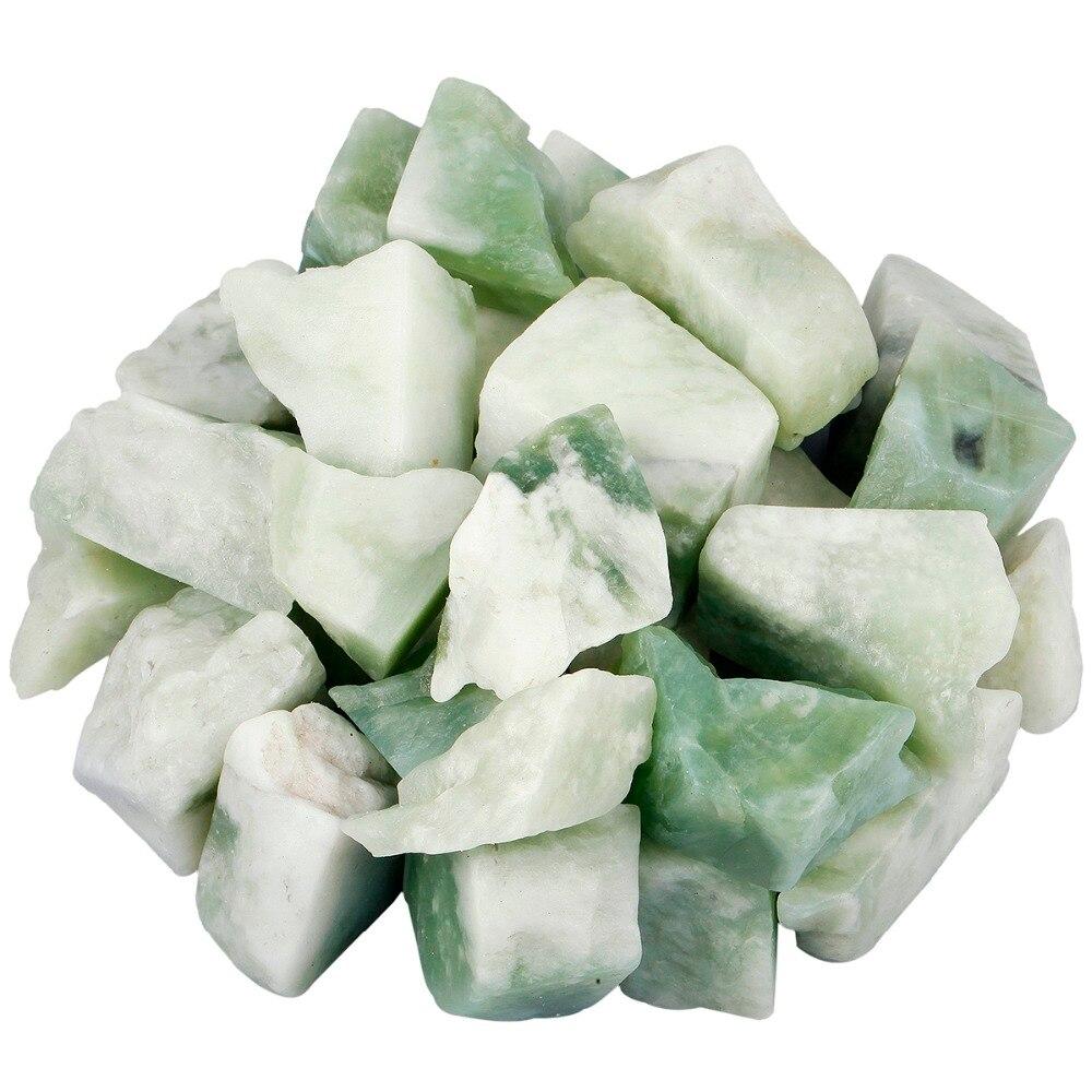TUMBEELLUWA 1lb (460g) Xiuyan Jade Raw Rough Stones For Tumbling,Cabbing,Wire Wrapping,Healing Reiki Wicca