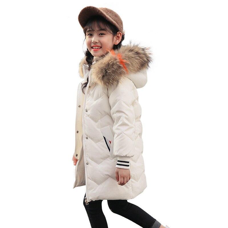 100% Kwaliteit Nieuwe Down Meisjes Verdikte Lange-en-medium Lengte Bovenkleding Fashion Mooie Meisjes En Volwassenen Grote Haar Kraag Winter Koreaanse Jurk Verfrissing