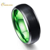 Anillo interior verde matorrales ronda hombres Anillos 100% carburo de tungsteno anillos para hombres joyería masculina