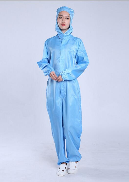 Jer36-1025-Clean room, clean work protective clothing, hooded clothing, blue striped, protective, anti-static overalls все цены