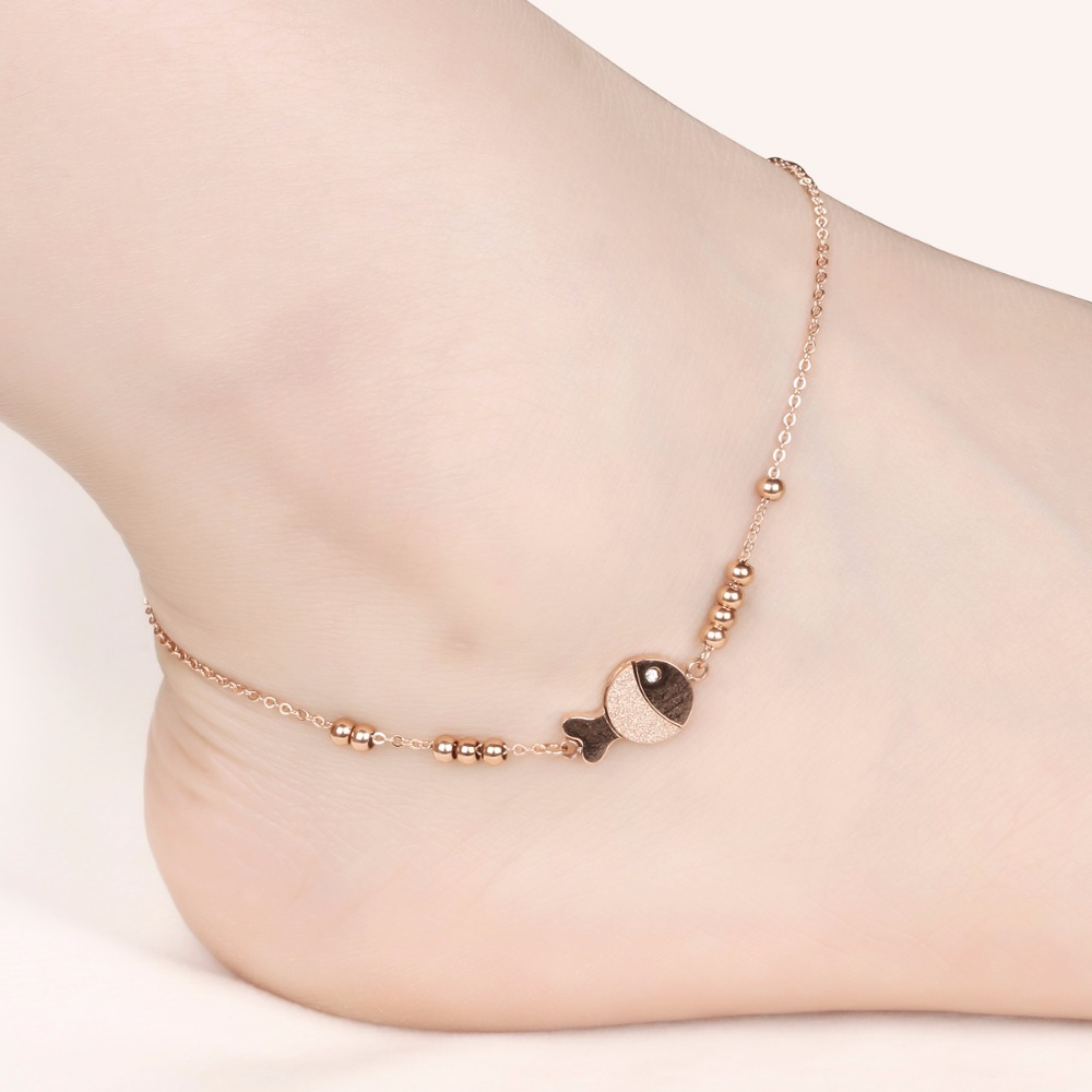 Jewelry Sets & More Seanuo 2018 Stylish Love Cube Link Anklets For Women Rose Gold Color Stainless Steel Ladies Female Foot Anklet Bracelet Jewelry Vivid And Great In Style Jewelry & Accessories
