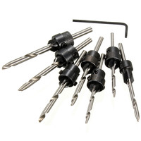 HOEN 7pcs Set Size 5 6 7 8 9 10 11 12 Drill Bit HSS Woodworking