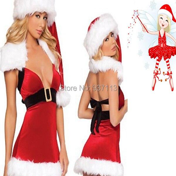 New Arrival Girls Women Sexy Merry Christmas Costumes Set Santa