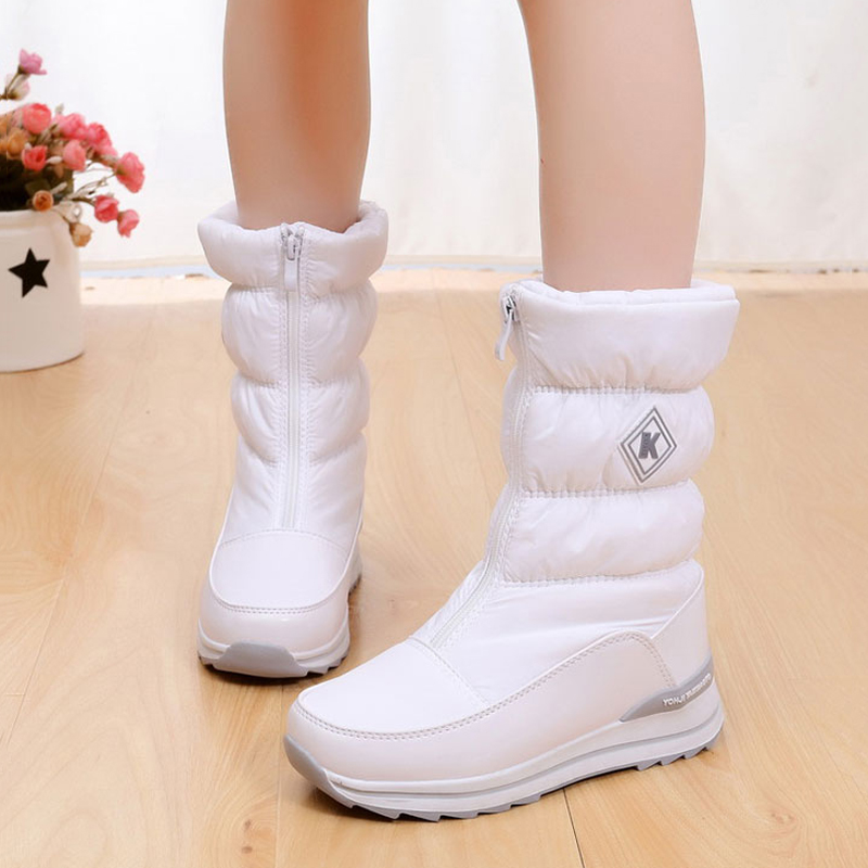 Women snow boots 2018 new arrivals thick plush winter shoes high quality waterproof winter boots fashion zipper women boots
