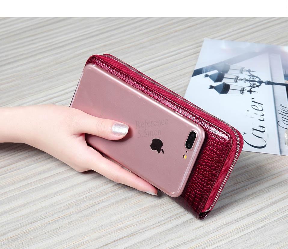 VICKAWEB Wristlet Wallet Purse Genuine Leather Wallet Female Long Zipper Women Wallets Card Holder Clutch Ladies Wallets AE38-011-1
