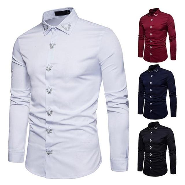 lo último e3e15 29bc9 € 29.11 |Bonito nuevo estilo hombres camisas moda Inglaterra tendencia  delgada camisas de manga larga Casual Camisa de Color sólido ropa de hombre  en ...