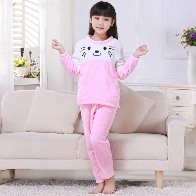 3adaacc192 Cheap Price NEW Fleece Coral Winter Kids Flannel pajamas set Warm Nighties Cartoon  Sleepwear long sleeved Lounge Homewear wr44