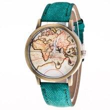 Estilo de navegação Mapa Da Terra Liga de Bronze Do Vintage de Couro Pu Relógio De Pulso Relógio relógio de Quartzo Para Mulheres Homens Unisex Preto Branco 8376