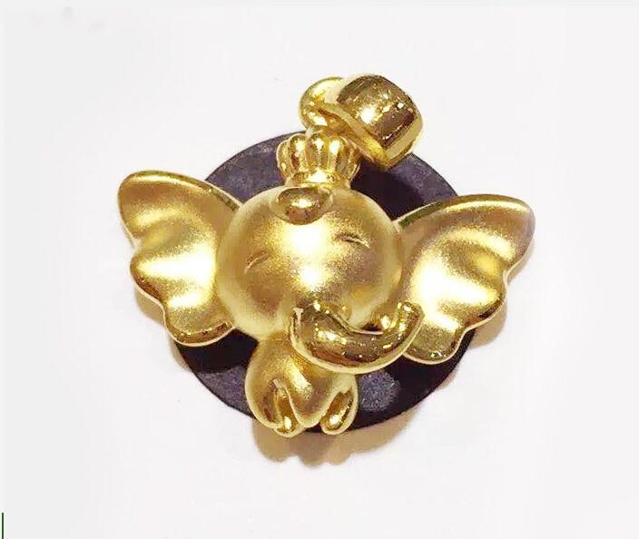 Puro 999 24 k oro amarillo elefante volador colgante 1,50g - 3