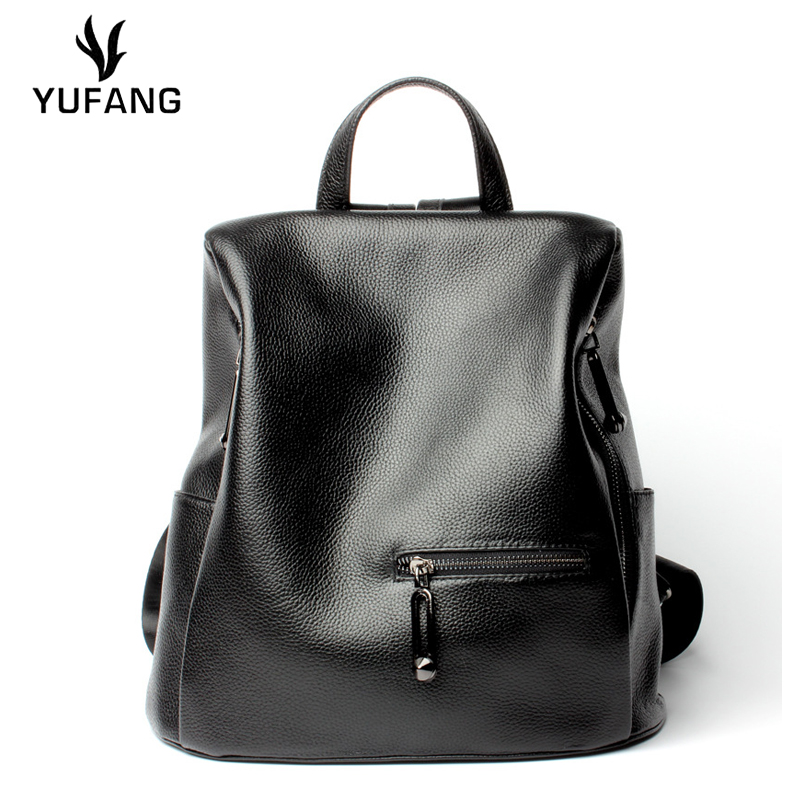 Yufang Women Backpack Genuine Leather Daypack Womens Large Capacity Travel Bag Female Natural Cowhide School Bag Ladies