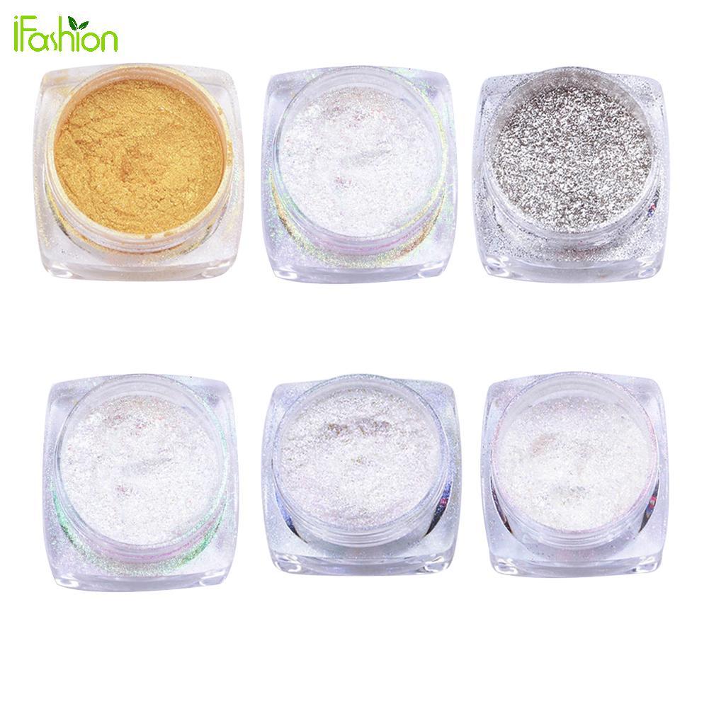 Nägel dip pulver 6 farben Spiegel Pulver Gold Silber Pigment Glitter ...