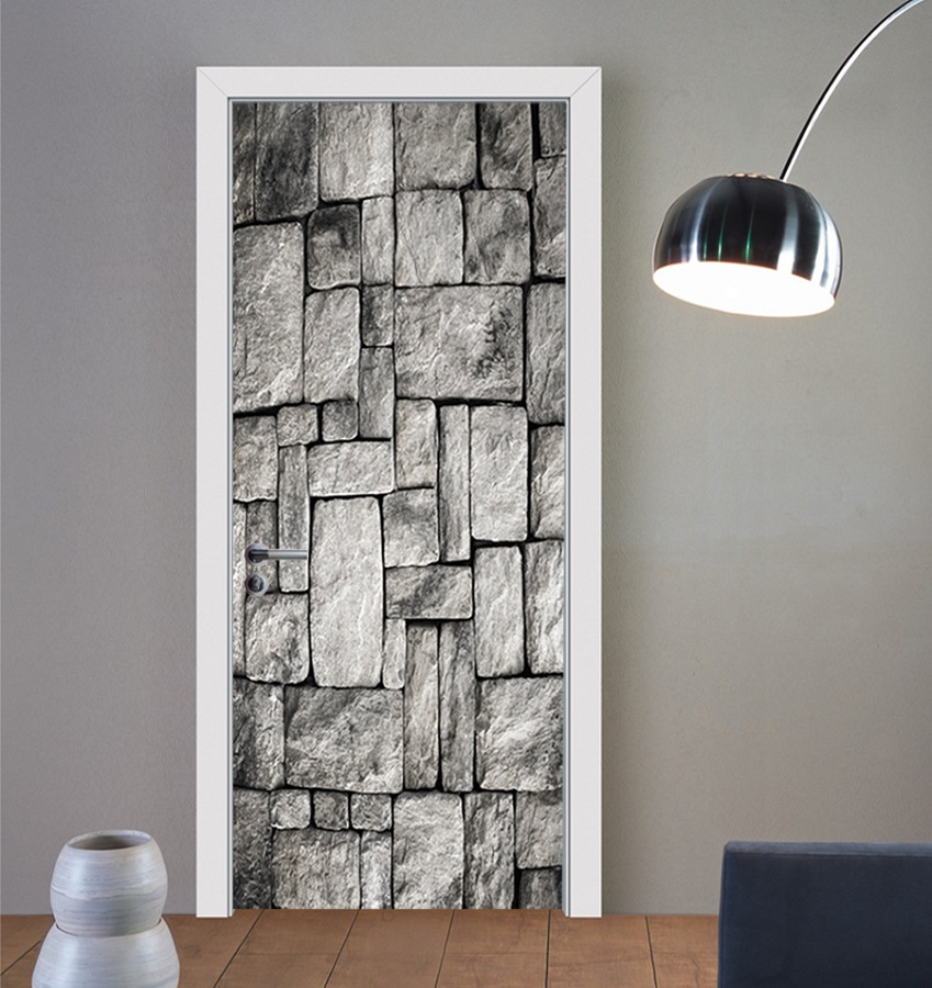 Grey White Bricks Refrigerator Sticker Kid s Art Fridge Door Cover Wallpaper