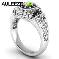Skull Series Natural Black Agate Ring 0 3CT Natural Peridot Engagement Ring Solid 10K White Gold