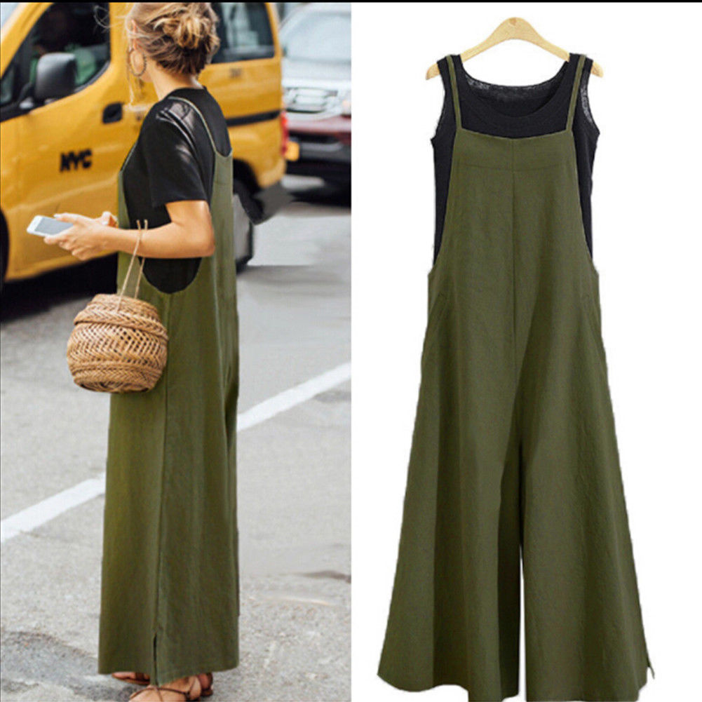 2019 Brand New Style Women Casual Cotton Overalls Jumpsuit Strap Rompers Dungaree Oversized Trousers