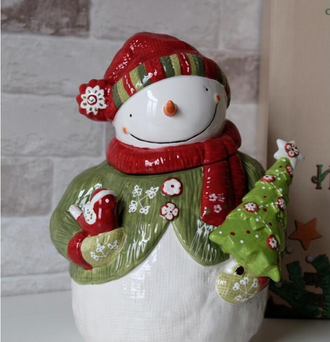 Créatif mignon bonhomme de neige pot de stockage Super mignon bonhomme de neige modélisation grand pot en céramique noël bonbons pot ornements décorations