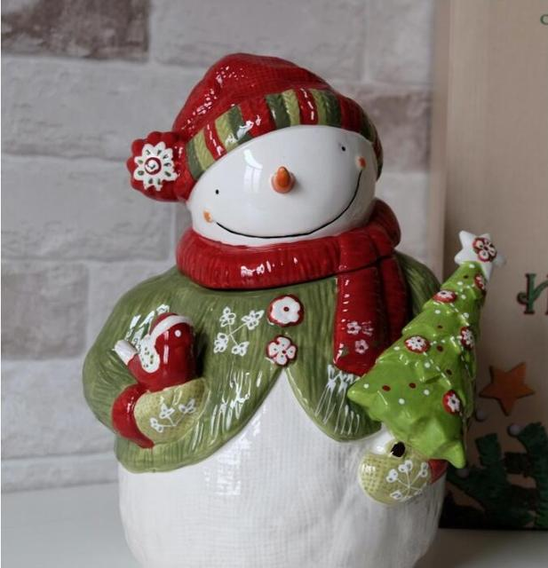 creative cute snowman storage jar super cute snowman modeling large jar ceramic christmas candy jar ornaments - Ceramic Christmas Ornaments