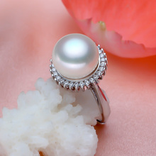 925 silver real natural big [bright pearl] freshwater pearl rings, pendants, rings, steamed round black pearls, favorite para