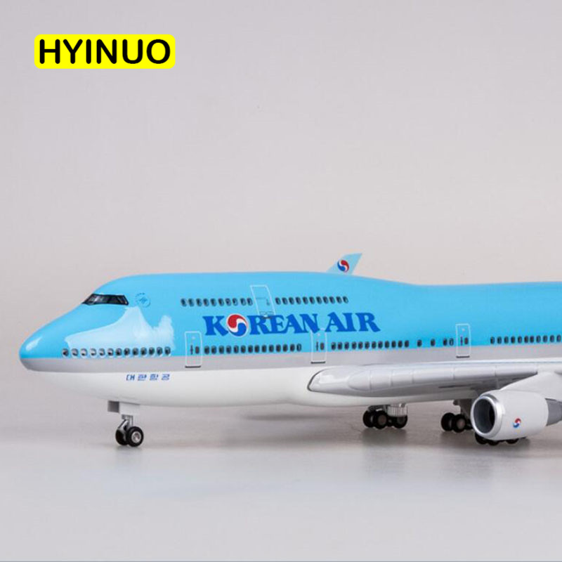 1 150 Scale 47CM Airplane Boeing B747 Aircraft Korean International Airline Model W Light and Wheel